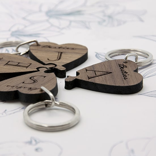 'Besties' Lucky Clover Wooden Keyring Set