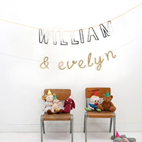 Personalised Alphabet Silver Mirror Bunting