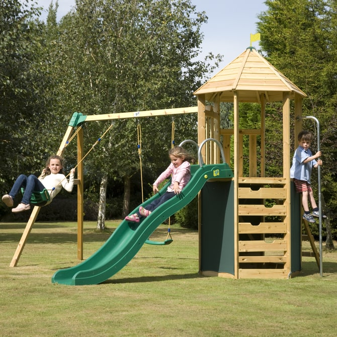 TP Castlewood Tower with slide, swings and den